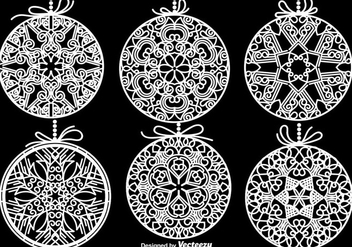 White Christmas Spheres Vector Elements - vector gratuit #411835