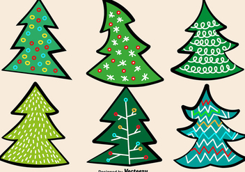 Doodle Christmas Trees Vector Set - Kostenloses vector #411945