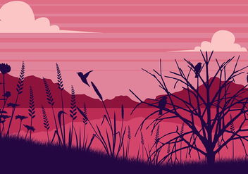Sea Oats Pink Background Free Vector - бесплатный vector #412005