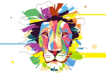 Lion - Animal Style - Popart Portrait - vector #412115 gratis