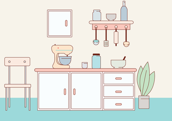 Kitchen Vector Illustration - vector gratuit #412145