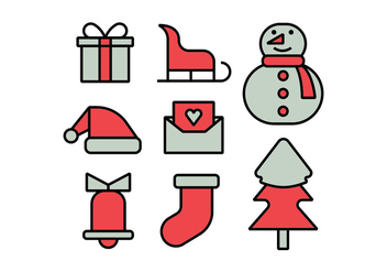 Merry christmas icons set - vector gratuit #412355
