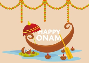 Free Happy Onam Vector Illustrator - бесплатный vector #412365