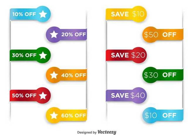 Price Discount Vector Tags - Free vector #412485