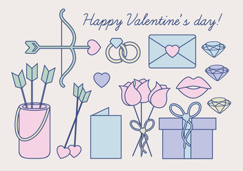 Vector Valentine's Day Objects - Kostenloses vector #412615
