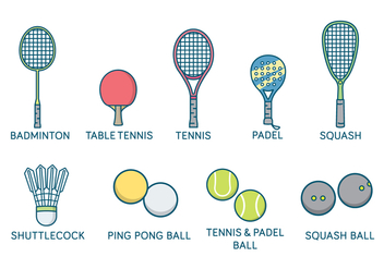 Sports Rackets and Balls Vector - vector #412785 gratis