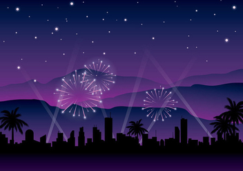 Hollywood Light Night Background Free Vector - vector gratuit #412835