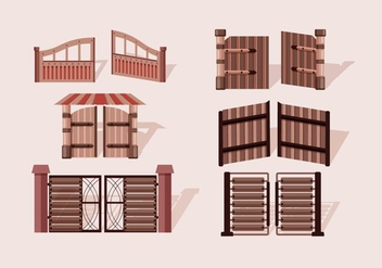 Open Gate Wooden Vector - Free vector #412855
