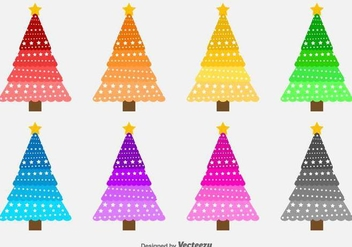 Colorful Vector Christmas Trees - vector gratuit #413225
