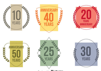 Colorful Anniversary Vector Set - бесплатный vector #413495