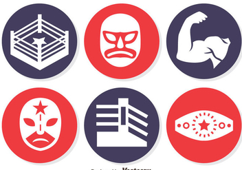 Wrestling Element Circle icons Vector - бесплатный vector #413505