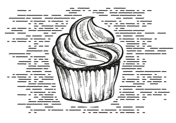 Free Hand Drawn Cupcake Background - бесплатный vector #413545