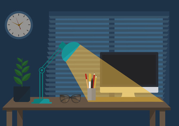 Free Workspace Vector Night Illustration - Free vector #413595