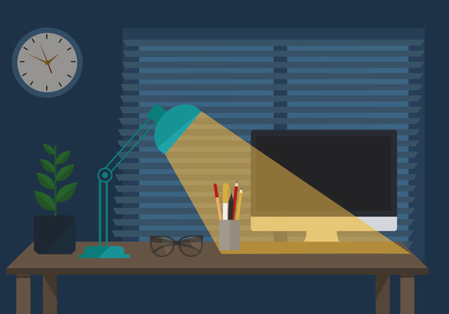 Free Workspace Vector Night Illustration - vector #413595 gratis