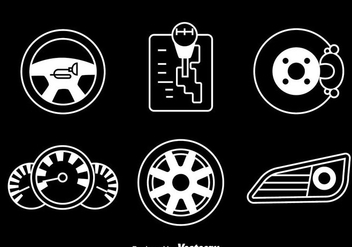 Car Element White Icons Vector - vector gratuit #413715
