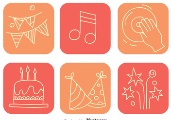 Party Element Square Icons - vector #413725 gratis