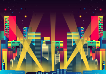 Hollywood Lights Night City - vector #414215 gratis