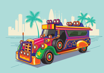 Philippine Jeep vector Illustration or Jeepney - vector gratuit #414265