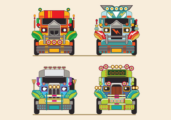 Philippine Jeep vector Illustration or Jeepney Front View - Free vector #414345