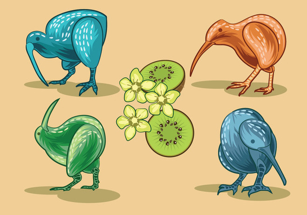 Vector Image of Nice Kiwi Birds and Kiwi Fruits - Free vector #414435