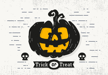 Trick or Treat Halloween Pumpkin Vector Illustration - Free vector #414455