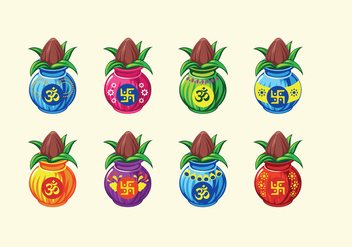 Set Vector illustration of Kalash with Coconut and Mango Leaf - vector #414505 gratis