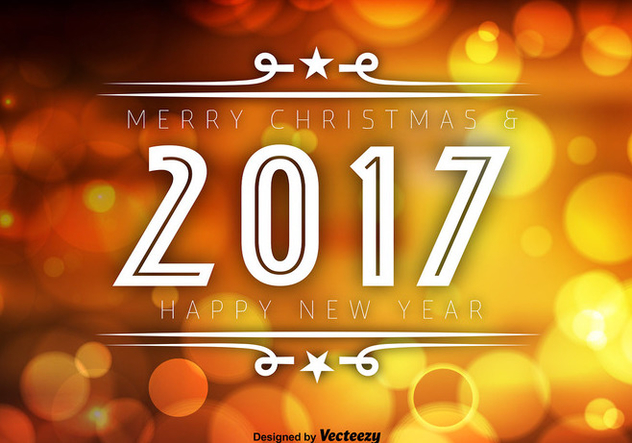 2017 Happy New Year Orange Bokeh Vector Background - vector gratuit #414675