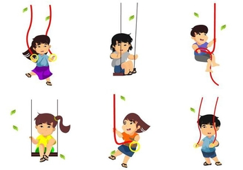 Free Kids Playing Rope Swings Vector Illustration - vector gratuit #414755