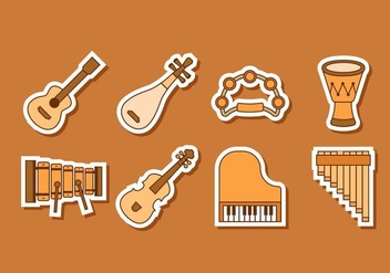 Free Music Insrument Stickers Vector - бесплатный vector #414795