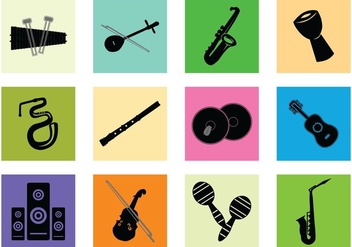 Silhouette Of Music Instrument - Kostenloses vector #414995