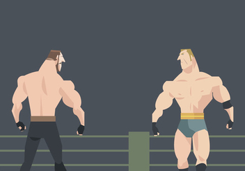 Two Wrestlers Prepare to Fight Vector - vector gratuit #415145
