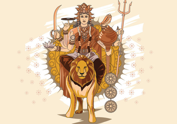 Vector Illustration of Goddess Durga in Subho Bijoya - бесплатный vector #415185