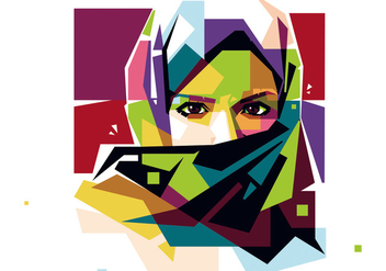 Hijab Woman Vector WPAP - бесплатный vector #415195