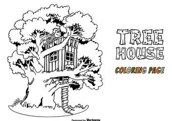 Free Tree House Vector Coloring Page - vector gratuit #415205