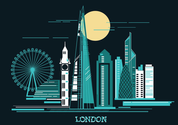 Vector Illustration The Shard and The London Skylane - vector gratuit #415365