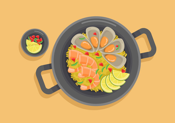 Paella Vector Illustration - бесплатный vector #415425