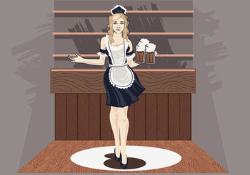 Vector Illustration of Woman in Classic Maid Dress Costume - Free vector #415485