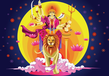 Vector Illustration of Goddess Durga in Subho Bijoya - бесплатный vector #415575