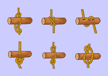 Rope ladder knot wood vector stock - vector gratuit #415585