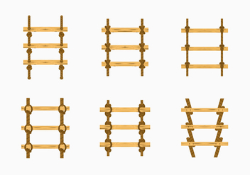 Rope ladder knot wood stairs vector stock - vector gratuit #415595