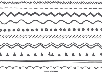 Cute Sketchy Borders Collection - vector #415625 gratis