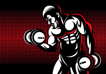 Young Man With Dumbell - Free vector #415785