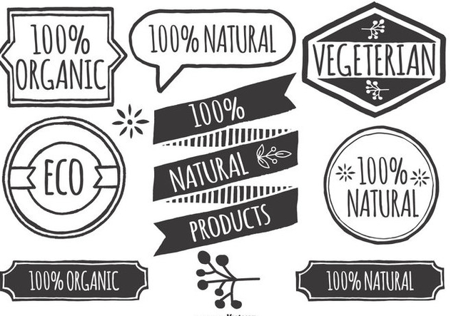 Hand Drawn Style Organic Product Lables - vector gratuit #415835
