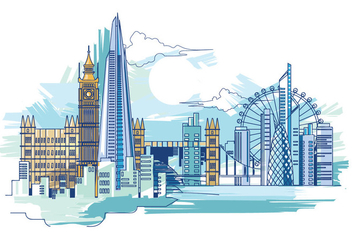Vector Illustration The Shard and The London Skyline - vector gratuit #415865