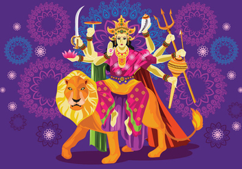 Vector Illustration of Goddess Durga in Subho Bijoya - бесплатный vector #415905