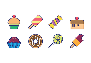 Candy and Goody Linear Icons - vector #416115 gratis
