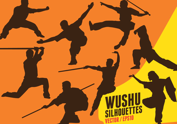 Wushu Silhouettes - vector gratuit #416155
