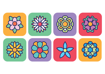 Flower Icon Pack In Rounded Square Background - vector gratuit #416335
