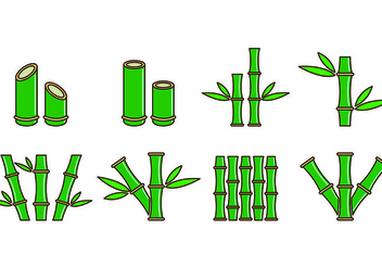 Set Of Bamboo Icons - vector gratuit #416545