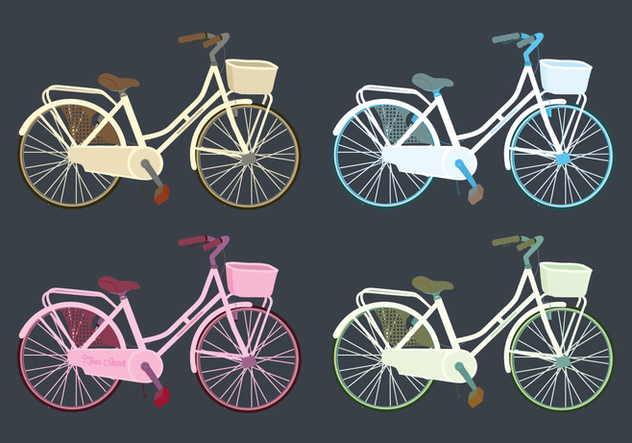 Vector Colourful Bicycles Set - vector gratuit #416565